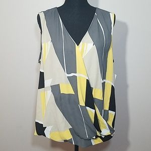 8486552d4dde73 Alfani Abstract Yellow Grey Top NWT